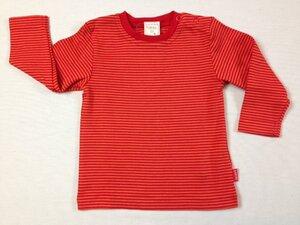 Baby Langarmshirt Teddy rot-orange gestreift - Lana naturalwear