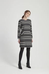 Rita Stripe Dress - Black - People Tree