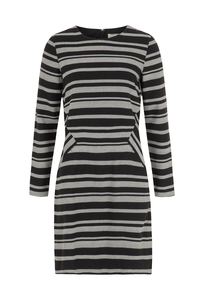 Rita Stripe Dress - Black - People Tree
