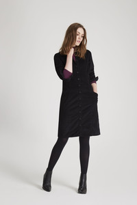 Verena Corduroy Shirt Dress - Black - People Tree