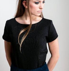 T-Shirt AMY RIB schwarz - JAN N JUNE