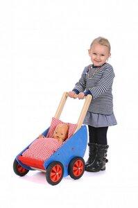 Schiebe-Lauflernwagen - Puppenwagen Robi -  mit Bettzeug  - Bätz Holzspielwaren