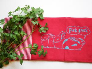 Handgewebtes Fair-Trade-Geschirrtuch 'Punk-Rock' rot - Hirschkind