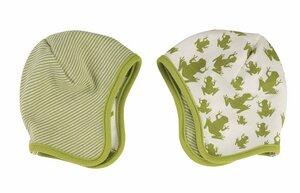 Baby Wende Mütze mit Froschmotiv, Farbe: grün-weiss - Organics for Kids