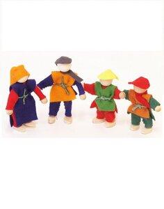 Famile 4 Filzpüppchen 6-8 cm  passend zur Spielewelt von Decor Spielwelt - Decor Holzspielwaren