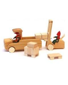 LKW + Stapler+ 2 Püppchen natürliches Holz ÖKO Decor Spielwelt (links) - Decor Holzspielwaren
