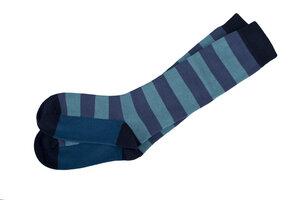 Kniestrumpf - dunkles blau geringelt - People Wear Organic