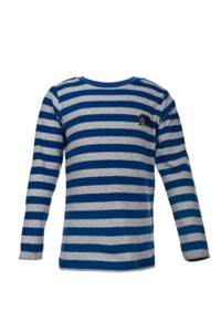 Langarmshirt - blau geringelt - People Wear Organic