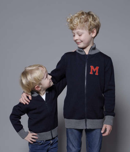 Collegejacke MAX marine/grau - Wool Candy
