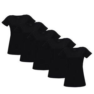 Damen T-Shirt 5er Pack in schwarz - Fairtrade & GOTS zertifiziert - MELAWEAR