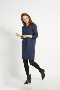 Marcia Fleece Dress - Dark Blue Melange  - People Tree