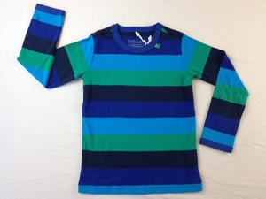 Jungen Langarmshirt Block stripe T Marine - Green Cotton
