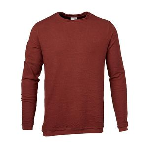 SLOPE LONG SLEEVE TEE W/DOUBLE LAYER GOTS Madder Brown - KnowledgeCotton Apparel