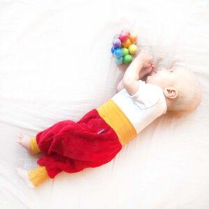 Baby Gemütlichkeitshose rot/senfgelb - bingabonga