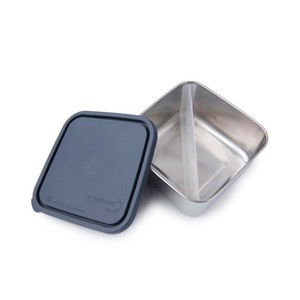 Edelstahl Brotdose - quadratisch - groß - mit Trenner (16,5x16,5x7,5cm)  - U-Konserve
