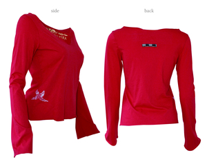 Ladies Long Sleeve V Neck Top with Small Bird - Chakura by Ku Ambiance
