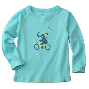 Bio Langarm-Shirt Elefant (türkis) für Kinder und Baby - IceDrake