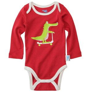 IceDrake Baby Langarm Body Krokodil (rot) - IceDrake