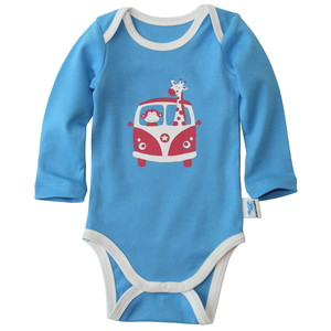 Baby Langarm-Body Affe, Giraffe (blau) - IceDrake