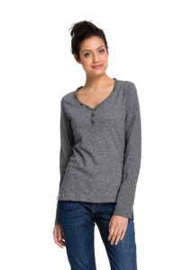 Fair trade Longsleeve Frauen HENLEY stone grey - recolution