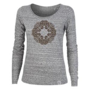 Longsleeve W - Buddha OWL - Siebdruck  - silver grey - Sacred Designs