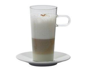 2 Stück Kaffeeglas COSTA III, 0.35l mit Porzellanunterteller - Trendglas Jena