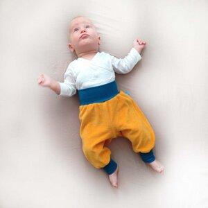 Baby Gemütlichkeitshose gelb/petrol - bingabonga