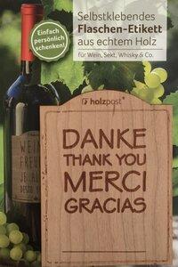 Flaschen-Etikett aus Holz - holzpost