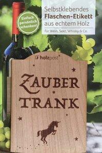 Zaubertrank Flaschen-Etikett aus Holz - holzpost