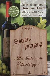 Flaschen-Etikett zum Geburtstag - holzpost