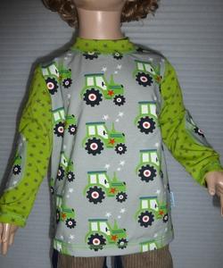 Kinder-Shirt/Longsleeve Traktor grau-grün aus Bio- Jersey - Omilich