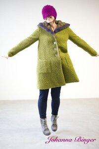 JAZZTESS, Kuschel-Wollmantel-Pistazienfarben in A-Form mit Geräumiger Kapuze - Johanna Binger natürlich weiblich