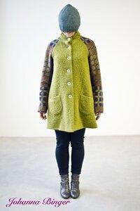 AMY, Kuschel Kurz-Wollmantel-Pistazienfarben in A-Form - Johanna Binger natürlich weiblich