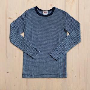 Longsleeve Wolle Seide - dunkel blau geringelt - People Wear Organic