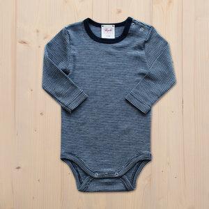 Langarmbody Wolle Seide - dunkel blau geringelt - People Wear Organic