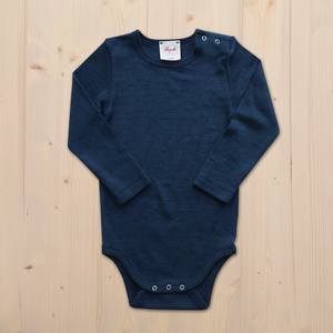 Langarmbody Wolle Seide - dunkel blau - People Wear Organic