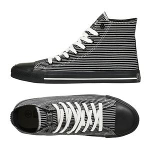 Black Cap Hi Cut Collection Black with White Pinstripes | Jet Black - Ethletic