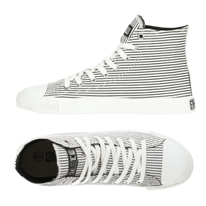 Fair Trainer  Hi Cut Collection White with Black Pinstripes|Just White - Ethletic