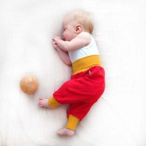 Baby Sweatpants rot mit senfgelben Bündchen - bingabonga