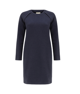 Marcia Fleece Dress Dark Blue Melange - People Tree