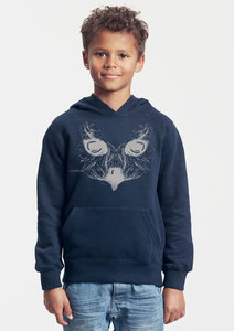 Bio-Kinder-Kapuzen-Sweatshirt Eule - Peaces.bio - Neutral® - handbedruckt