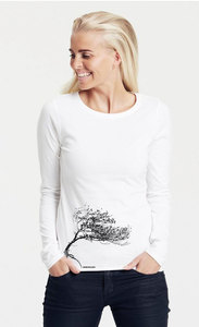 "Bio-Damen-Langarmshirt ""Windy tree"" - Peaces.bio - Neutral® - handbedruckt"