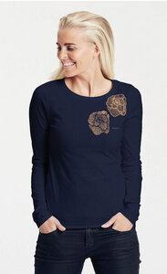 Bio-Damen-Langarmshirt 'Roses' - Peaces.bio - Neutral® - handbedruckt