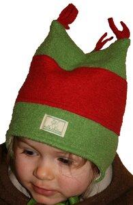 "Kinder-Wintermütze ""Thore"" aus Bio-Wollwalk grün-rot - Pickapooh"