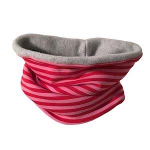 winterfester Loop, rosa/pink geringelt - bingabonga