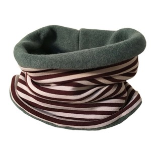 winterfester Loop, creme/braun geringelt - bingabonga