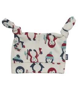 Baby Mütze Pinguin natur rot Bio Baumwolle - Kite