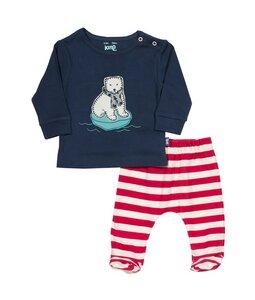 Baby u. Kinder Polar Bär Set blau u. rot weiß geringelt Bio Baumwolle - Kite
