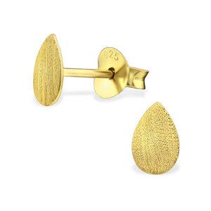Puristische Ohrstecker Tropfen aus 925er Sterling Silber - Gold doubliert matt - LUXAA