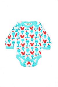 Langarm-Body 'Squirrel' weiß-blau-rot für Jungen und Mädchen - Sture & Lisa